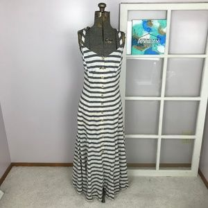 Maeve Anthro Linen Stripe Button Maxi Dress